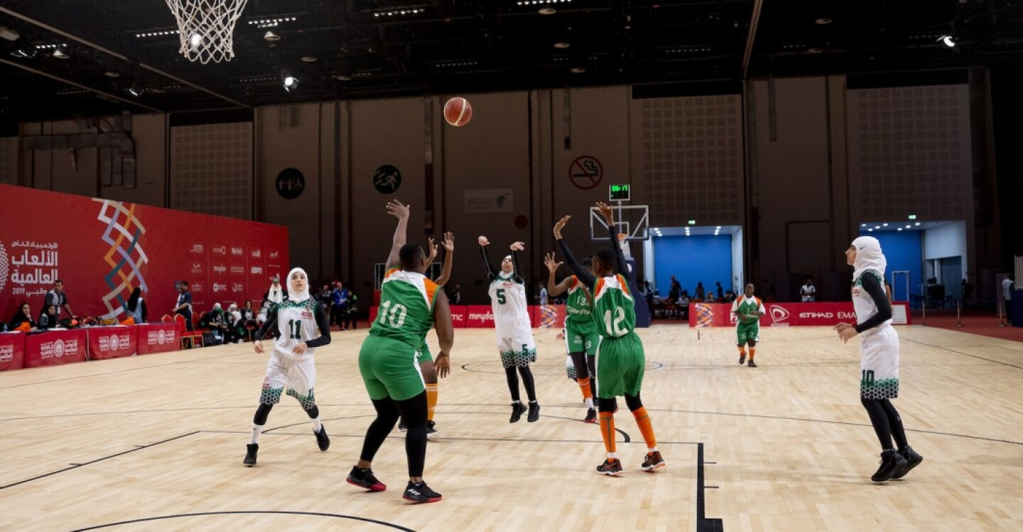 Women's Basketball Teams from Saudia Arabia and Cote d'Ivoire Play in Abu Dhabi at the World Summer Games, March 2019