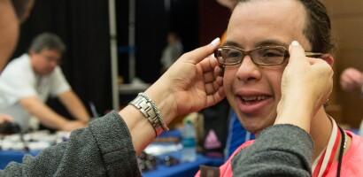 Opening Eyes Exam, Mohamed Gaballa of Egypt Gets New Glasses