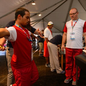 An Athlete from Qatar Participates in a Healthy Athletes Event at the 2015 World Summer Games in Los Angeles
