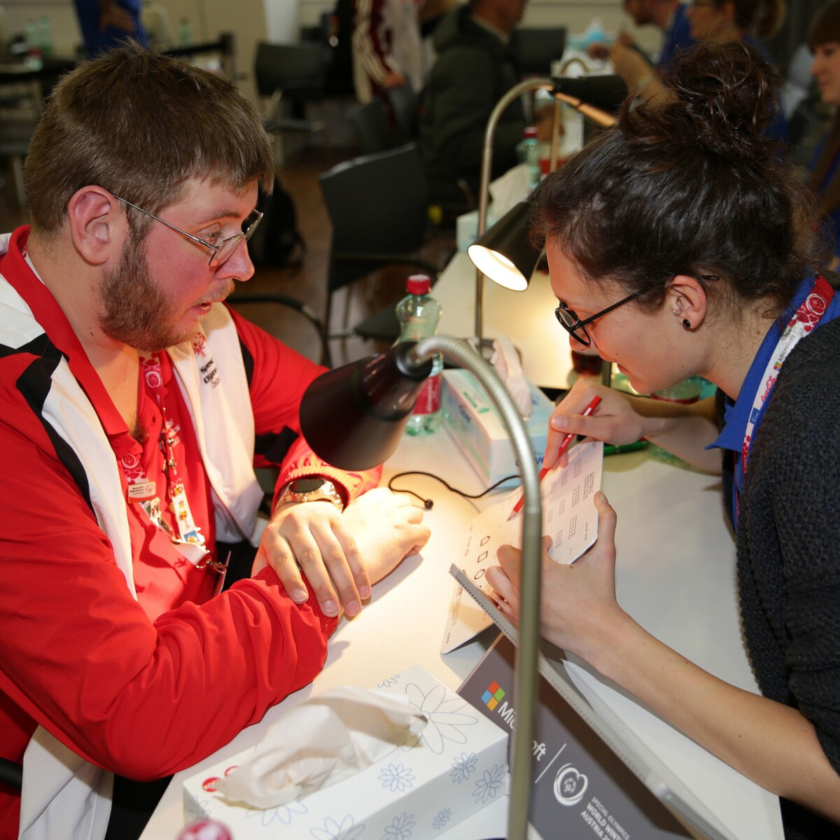 Austrian Athlete Herwig Worschitz Received a Health Athletes Opening Eyes Screening from a Volunteer at the 2017 World Winter Games in Austria