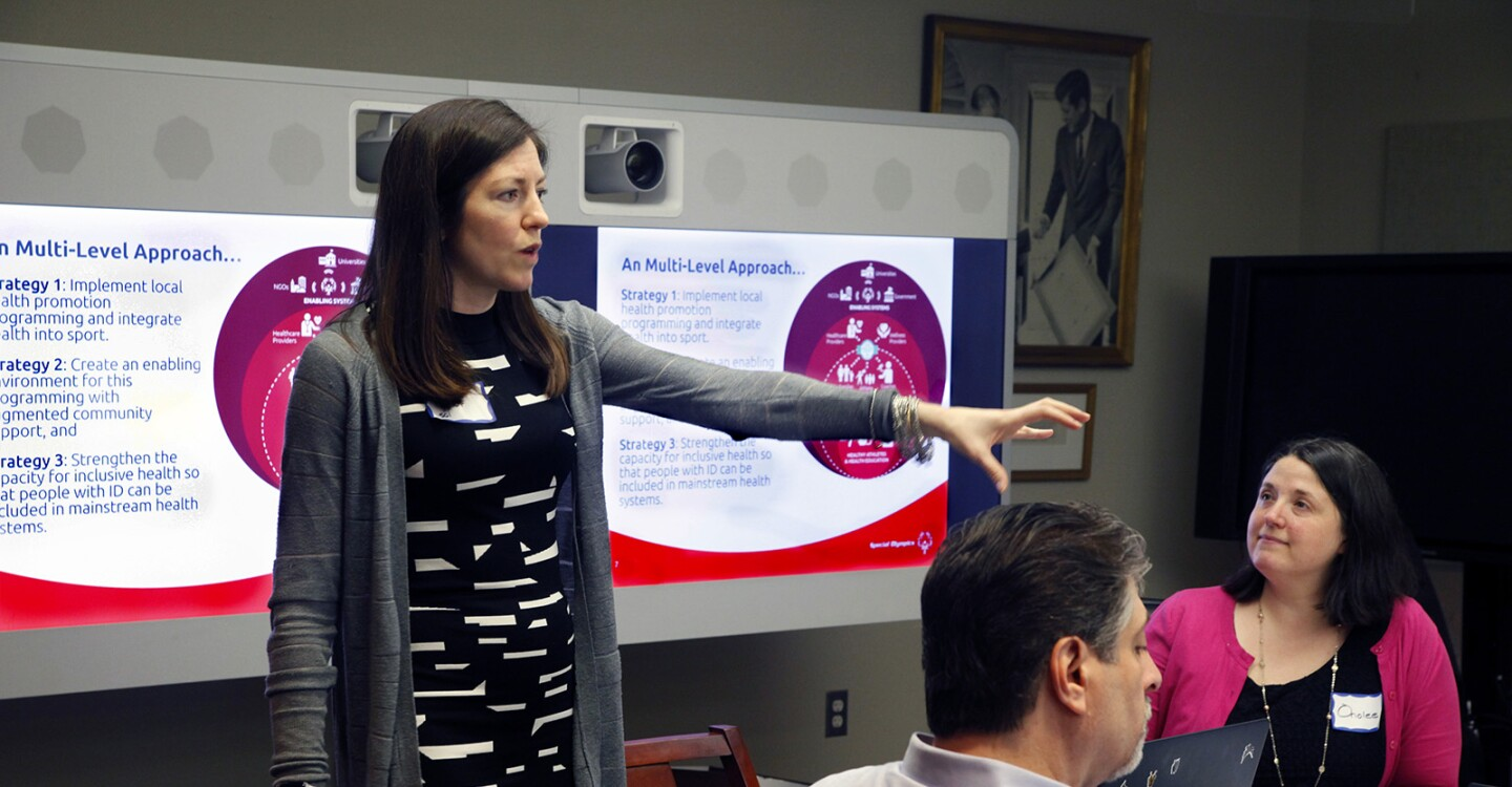 """Kristin Srour, Director of Global Community Health Programs, Presents on """"Learning from Models at the Community Level"""" at the Inclusive Health Innovation Grants Workshop, Feb. 13, 2019"""