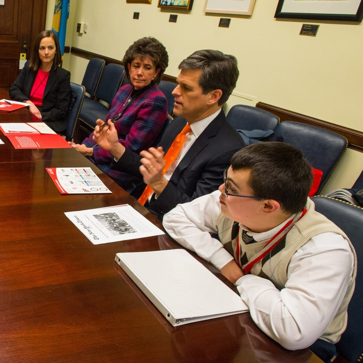 Tim Shriver and a Special Olympics Athlete Meet with Delaware Senator Chris Coons' Staff at the U.S. Capitol