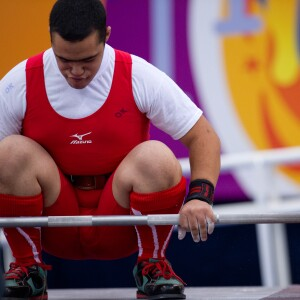 Powerlifting Athlete Just Before a Lift in Athens, Special Olympics Summer Games, 2011