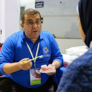 Toothbrush Dental Demo, Healthy Athletes at SENA Games in Cairo, Egypt, 2014