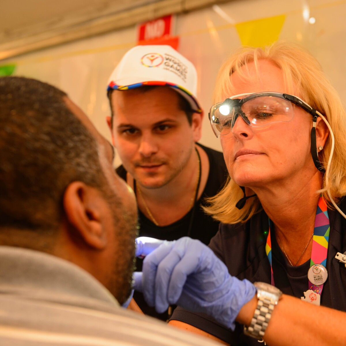 A Man Gets a Special Smiles Dental Exam During a Healthy Athletes Event at the 2015 World Summer Games in Los Angeles