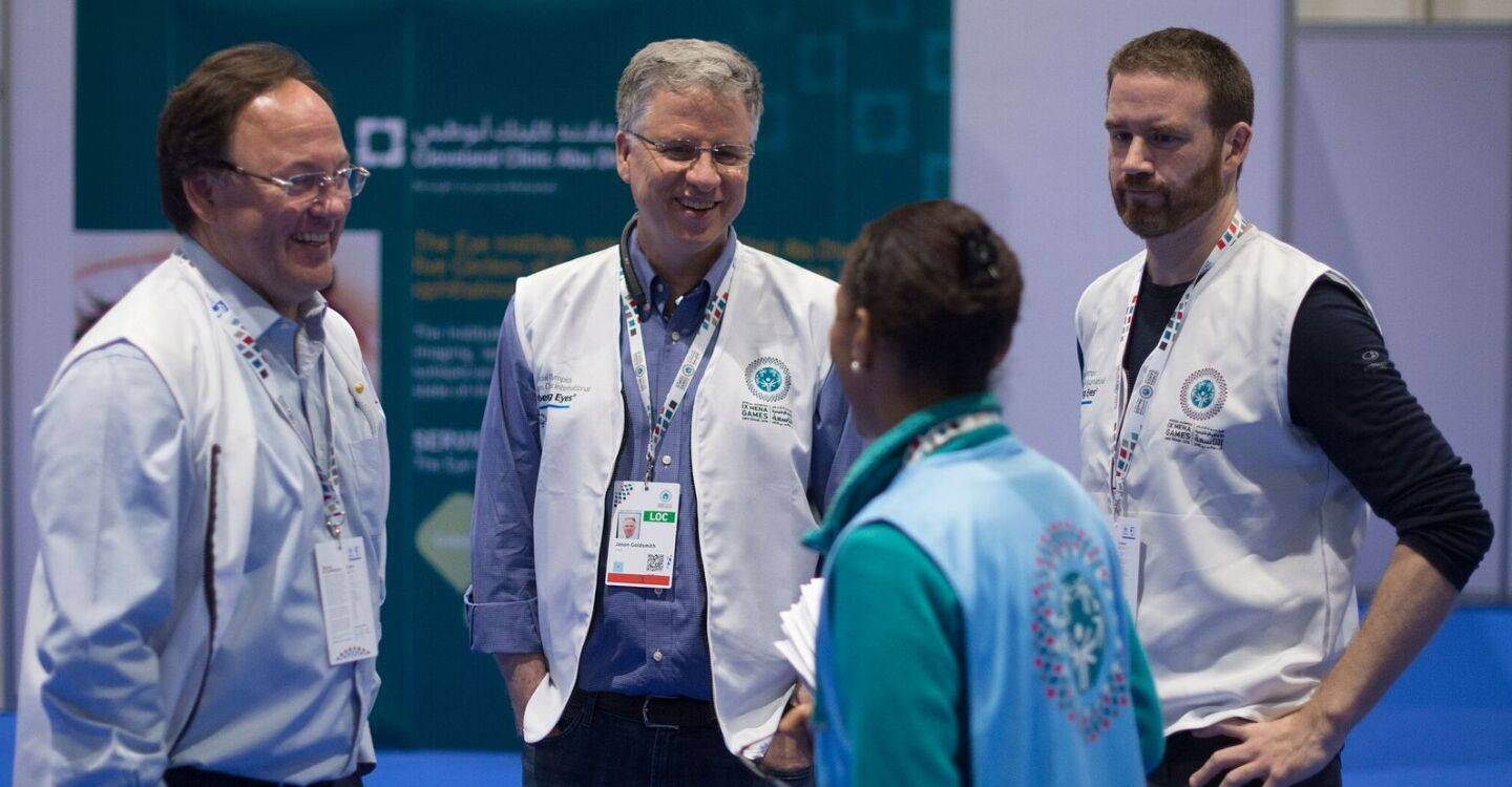 Healthcare Professionals Lede - Smiling and Taking a Break from Health Screenings at the IX MENA Games in Abu Dhabi, 2018