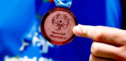 Kayaker Ilpo Holttinen, from Finland, Shows Off His Bronze Medal in Men's 500M Singles Race Tourist at the 2011 World Summer Games in Athens, Greece