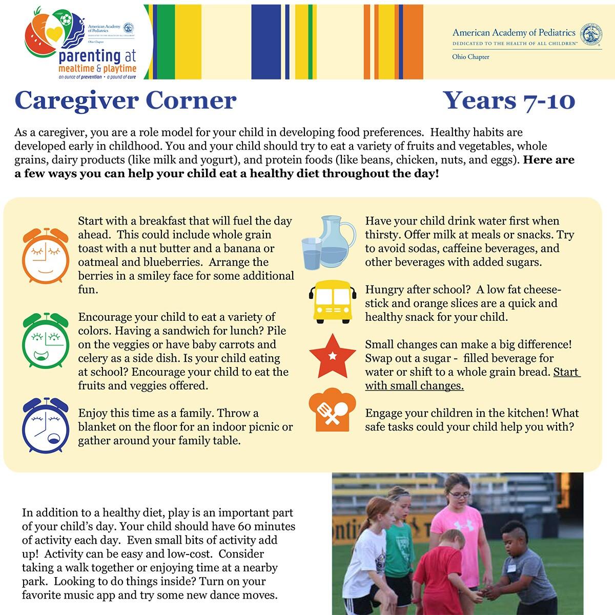 American Academy of Pediatrics, Ohio Department of Health - Caregiver Corner Handout, Healthy Habits, Ages 7-10