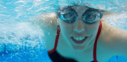 New Jersey Swimmer Jessica Licata Warming-Up with a Smile at Special Olympics Southern California Games, 2014