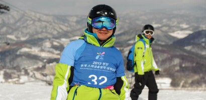Japanese Skier Junichi Futami Smiles on the Mountain During Alpine Competition at the 2013 World Winter Games in Pyeongchang, South Korea