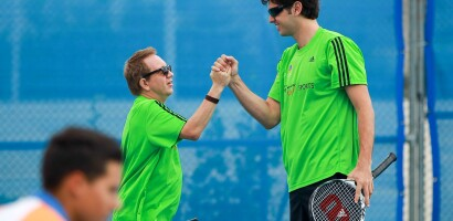 Unity Tennis Doubles Teammates Boris Becker (Germany) and Mario Ancic (Croatia, Former Pro) Celebrating at the 2011 Special Olympics Summer Games in Athens, Greece