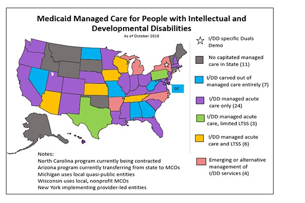 Map - Medicaid Managed Care for People with Intellectual and Developmental Disabilities (600x400)