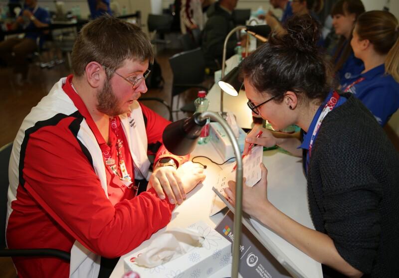 Austrian Athlete Herwig Worschitz Received a Health Athletes Opening Eyes Screening from a Volunteer at the 2017 World Winter Games in Austria