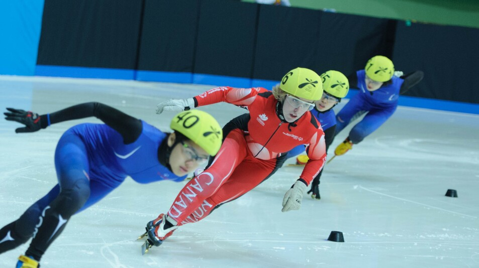 Female Athletes in Close Competition in Speed Skating at the 2013 World Winter Games in PyeongChang, South Korea