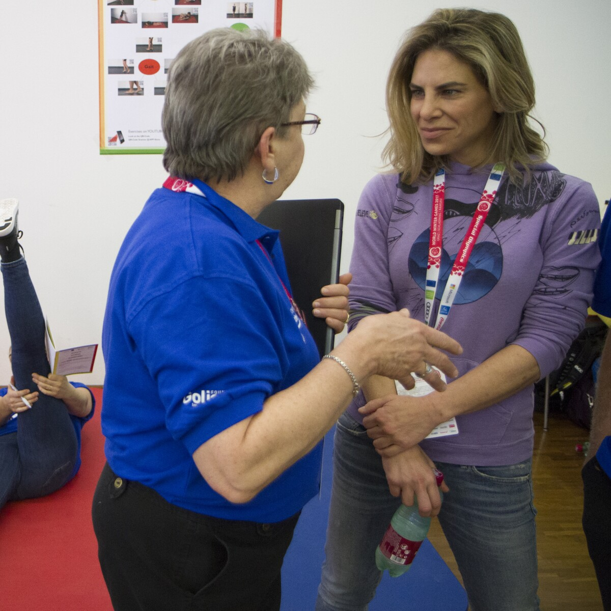 Professional Trainer Jillian Michaels Tours a FUNfitness Healthy Athletes Facility at the Special Olympics World Winter Games in Austria, 2017