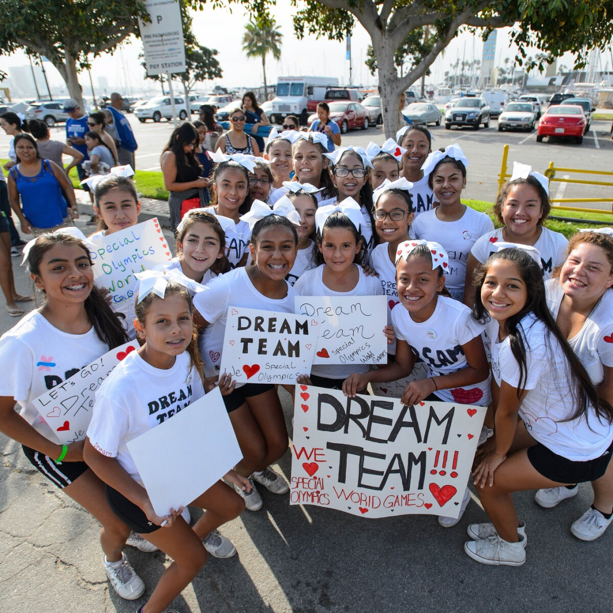 Grants - Dream Team Supporters Smiling at the Half Marathon at the 2015 Summer Games in Los Angeles