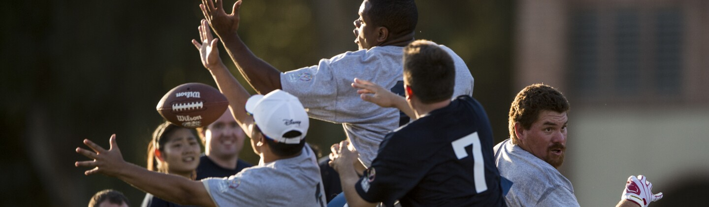 Flag Football Players Vie for a Ball in the Air During a Unified Sports Experience Event at the 2015 World Summer Games in Los Angeles, California