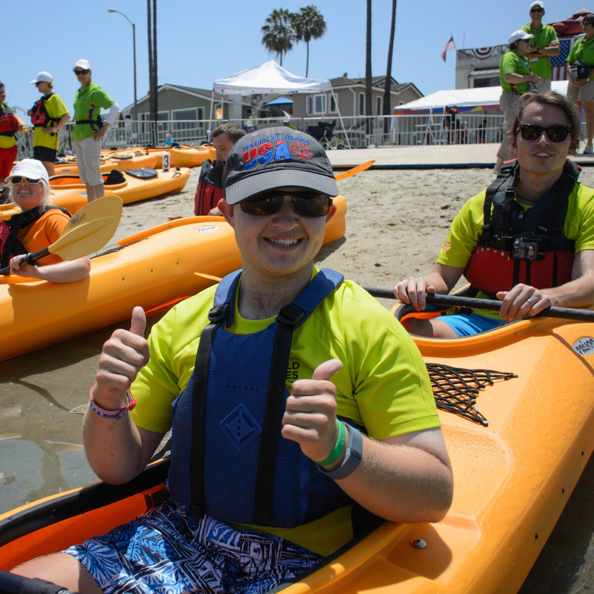 Kayakers Prepare to Get Into the Water at a Unified Sports Experience Event in Los Angeles During the 2015 World Summer Games